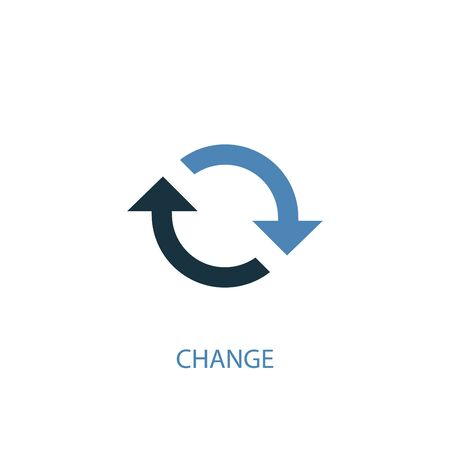 change concept 2 colored icon. Simple blue element illustration. change concept symbol design. Can be used for web and mobile Иллюстрация