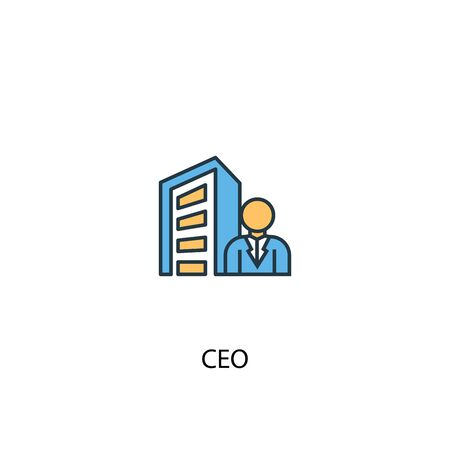 CEO concept 2 colored line icon. Simple yellow and blue element illustration. CEO concept outline symbol