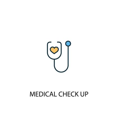 medical check up concept 2 colored line icon. Simple yellow and blue element illustration. medical check up concept outline symbol Ilustrace