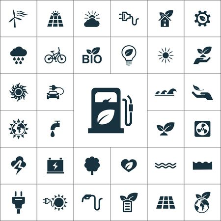green energy icons universal set for web and UI Illustration