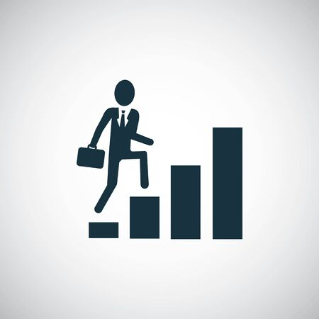 Man climbs the stairs icon simple flat element design concept Çizim