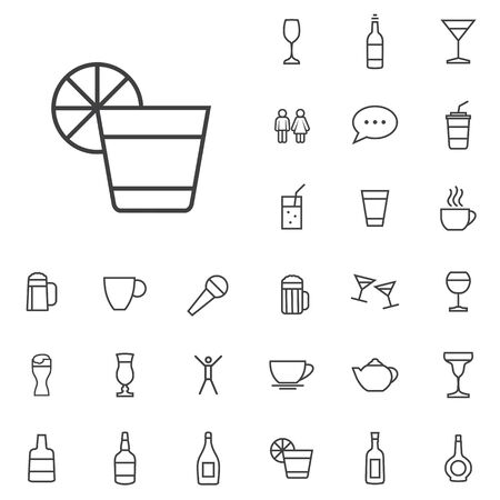 bar outline, thin, flat, digital icon set