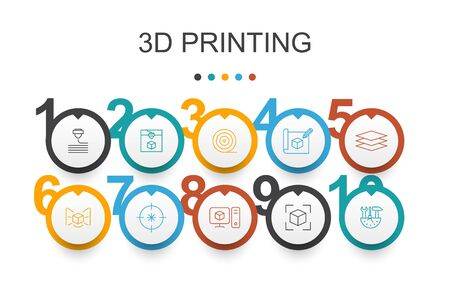 3d printing Infographic design template.3d printer, filament, prototyping, model preparation simple icons Illustration