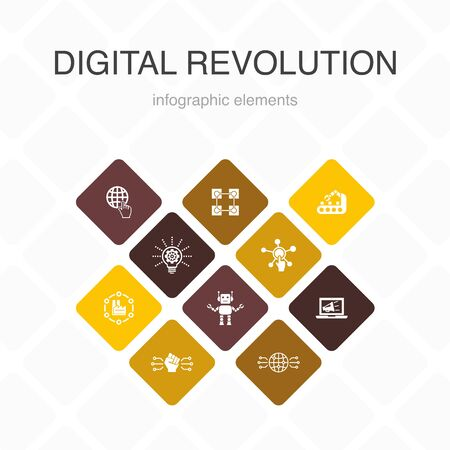 digital revolution Infographic 10 option color design.internet, blockchain, innovation, industry 4.0 simple icons  イラスト・ベクター素材
