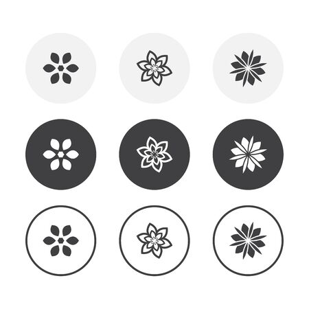 Set of 3 simple design flower icons. Rounded background