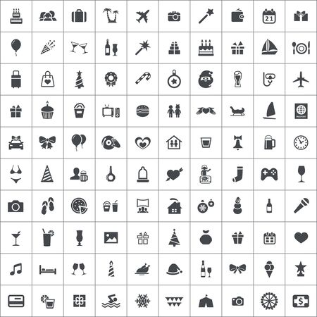 holiday 100 icons universal set for web and UI. Banque d'images - 134037878