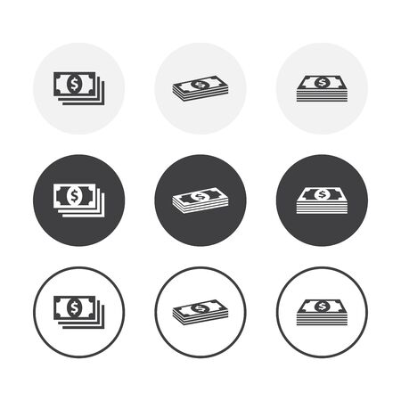 Set of 3 simple design money icons. Rounded background