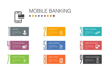 Mobile banking Infographic 10 option line concept.account, banking app, money transfer, Mobile payment simple icons Ilustração