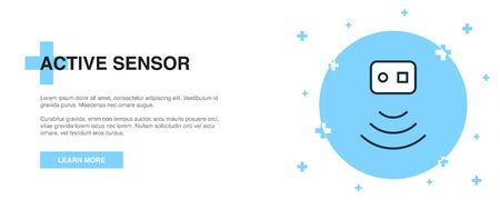 Active Sensor icon, banner outline template concept. Active Sensor line illustration