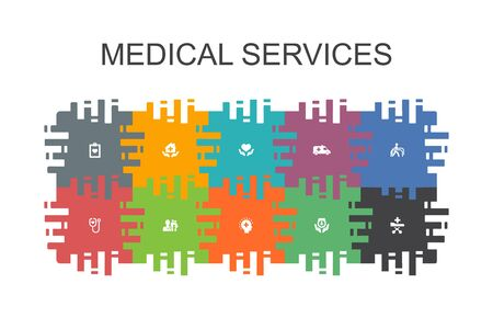 Medical services cartoon template with flat elements. Contains such icons as Emergency, Preventive care, patient Transportation