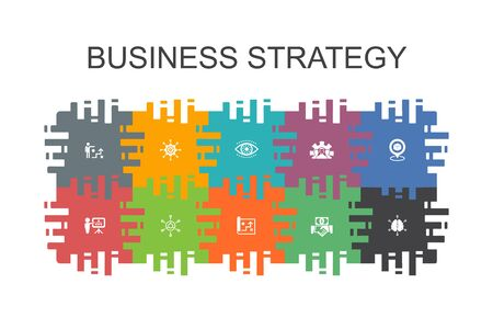 Business strategy cartoon template with flat elements. Contains such icons as planning, business model, vision, development