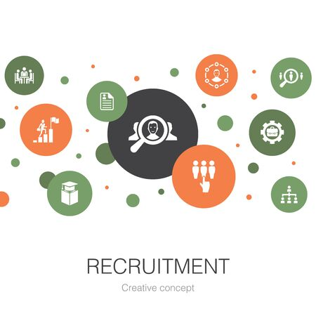 recruitment trendy circle template with simple icons. Contains such elements as career, employment, position