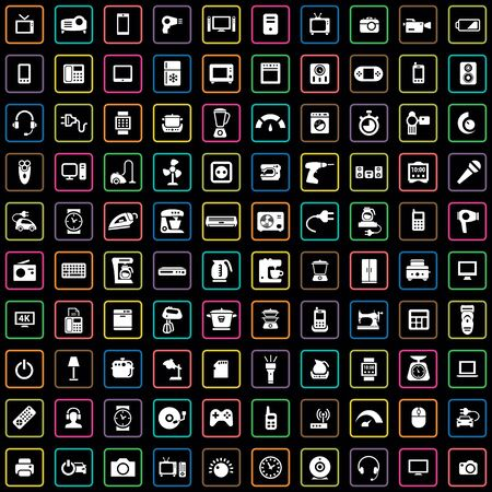 electronics 100 icons universal set for web and UI.