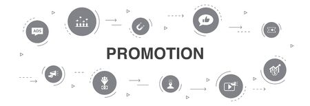 Promotion Infographic 10 steps circle design. advertising, sales, lead conversion, attract icons  イラスト・ベクター素材