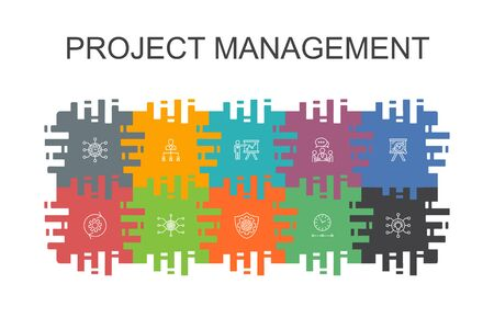 Project management cartoon template with flat elements. Contains such icons as Project presentation, Meeting, workflow, Risk management