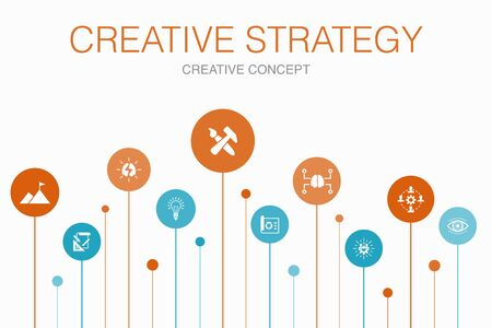 Creative Strategy Infographic 10 steps template. vision, brainstorm, collaboration, project icons