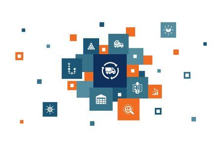 SCM Infographic 10 steps pixel design. management, analysis, distribution, procurement icons  イラスト・ベクター素材