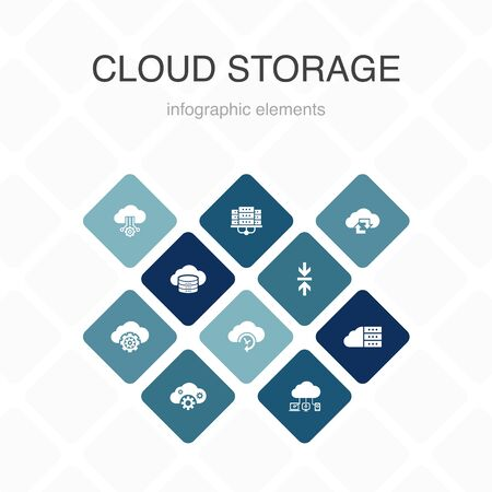 Cloud storage Infographic 10 option color design.Cloud Backup, data center, Hybrid Storage, Data Compression simple icons