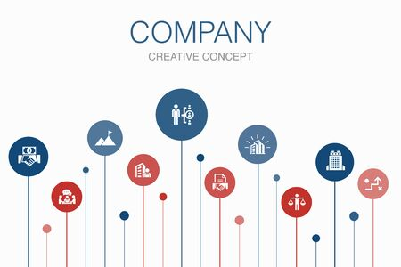 company Infographic 10 steps template. office, investment, meeting, contract icons Ilustração