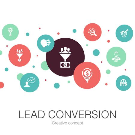 lead conversion trendy circle template with simple icons. Contains such elements as sales, analysis, prospect