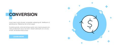 Conversion icon, banner outline template concept. Conversion line illustration