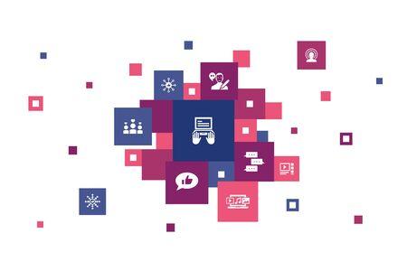 blogging Infographic 10 steps pixel design. social media, Comments, Blogger, digital content icons Illustration