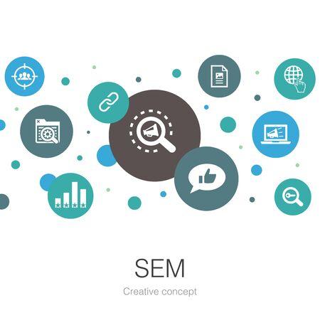 Modello di cerchio alla moda SEM con icone semplici. Contiene elementi come Motore di ricerca, Marketing digitale, Contenuti
