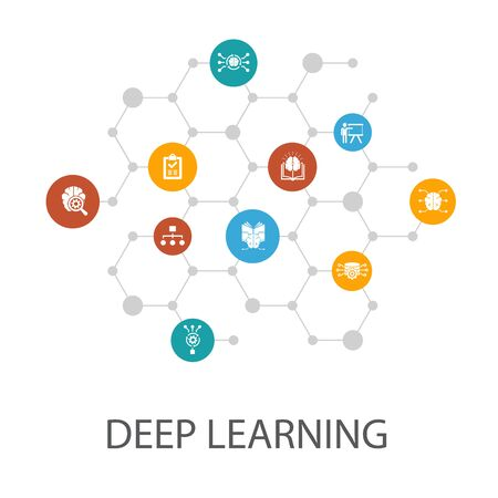 Deep learning presentation template, cover layout and infographics.algorithm, neural network, AI, Machine learning icons