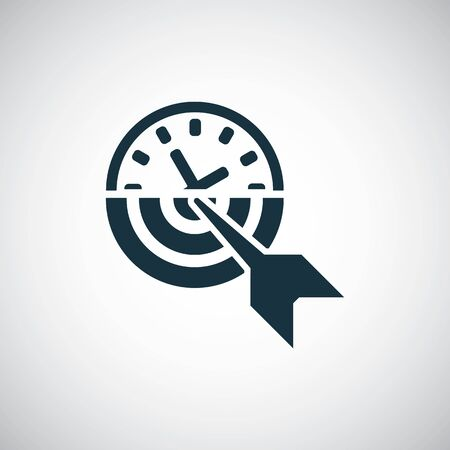 time watch target arrow icon for web and UI on white background 向量圖像