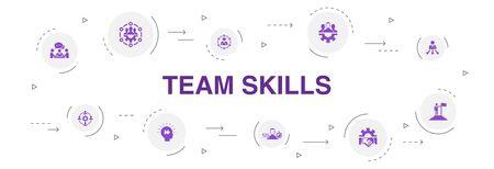 team skills Infographic 10 steps circle design.Collaboration, cooperation, teamwork, communication icons