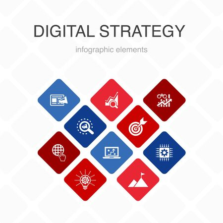 digital strategy Infographic 10 option color design.internet, SEO, content marketing, mission simple icons