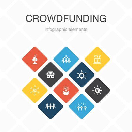 Crowdfunding Infographic 10 option color design.startup, product launch, funding platform, community simple icons Ilustração