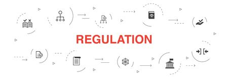 regulation Infographic 10 steps circle design. compliance, standard, guideline, rules icons Illustration