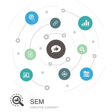 SEM colored circle concept with simple icons. Contains such elements as Search engine, Digital marketing, Content Illustration
