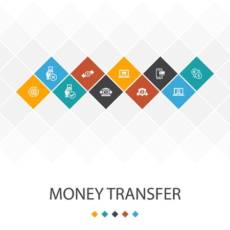 money transfer trendy UI template infographics concept.online payment, bank transfer, secure transaction, approved icons