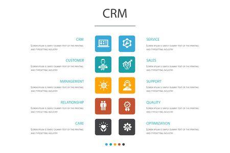 CRM Infographic 10 option concept.customer, management, relationship, service icons Ilustracje wektorowe
