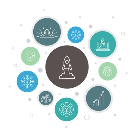 Startup Infographic 10 steps bubble design. Crowdfunding, Business Launch, Motivation, Product development simple icons Foto de archivo - 134039112