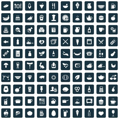 food 100 icons universal set for web and mobile.  イラスト・ベクター素材