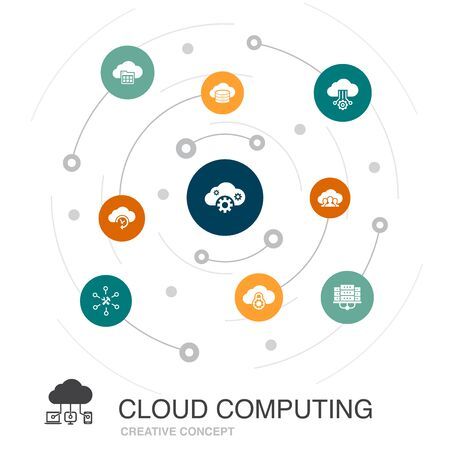 Cloud computing colored circle concept with simple icons. Contains such elements as Cloud Backup, data center, SaaS, provider