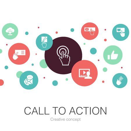 Oproep tot actie trendy cirkelsjabloon met eenvoudige pictogrammen. Bevat elementen als downloaden, klik hier, inschrijven