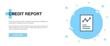 Credit report icon, banner outline template concept. Credit report line illustration design Illusztráció