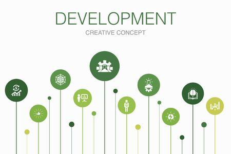 Development Infographic 10 steps template. global solution, knowledge, investor, Brainstorming icons Ilustração
