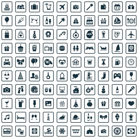 holiday 100 icons universal set for web and UI