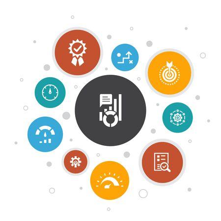 KPI Infographic 10 steps bubble design.optimization, objective, measurement, indicator icons Ilustracja