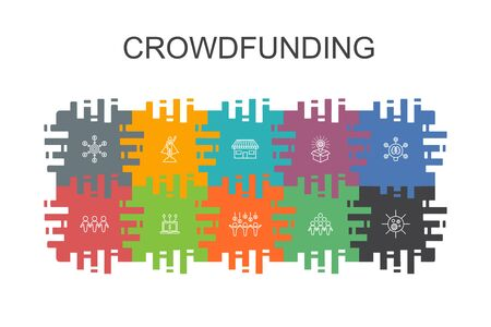 Crowdfunding cartoon template with flat elements. Contains such icons as startup, product launch, funding platform, community 向量圖像