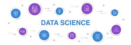 Data Science Infografik 10 Schritte Kreisdesign. Machine Learning, Big Data, Datenbank, Klassifizierung einfache Symbole