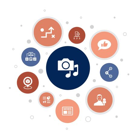 media Infographic 10 steps bubble design.news, reporter, Infographics, media plan icons Ilustração