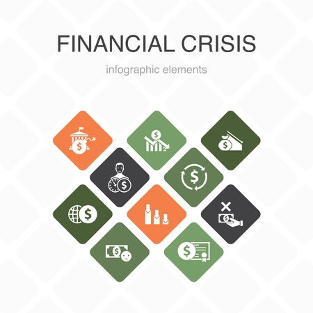 financial crisis Infographic 10 option color design.budget deficit, Bad loans, Government debt, Refinancing simple icons 版權商用圖片 - 134039245