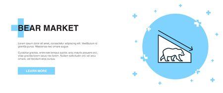 Icône du marché baissier, concept de modèle de contour de bannière. Illustration de la ligne du marché baissier