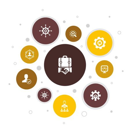 BPM Infographic 10 steps bubble design. business, process, management, organization icons 版權商用圖片 - 134039298